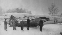 Damaged DC-3 after landing, Christmas Eve 1944