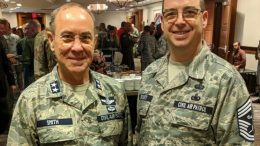 CAP Maj Gen Mark Smith and CAP Command CMSgt Dennis Orcutt, Jr