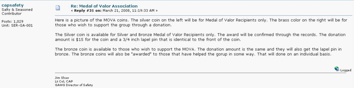 Civil Air Patrol Medal of Valor Challenge Coin Announcement