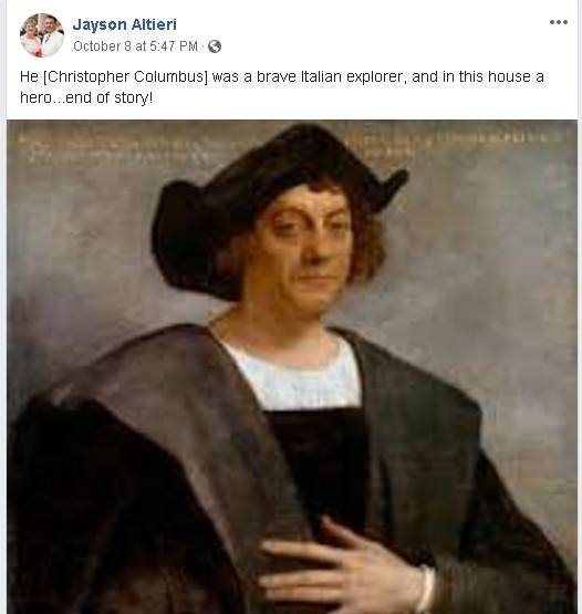 Jayson Altieri respects Christopher Columbus