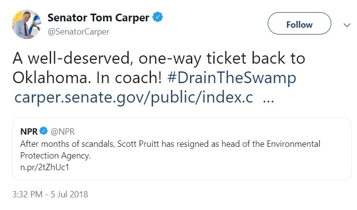 Trump Pruitt Tom Carper