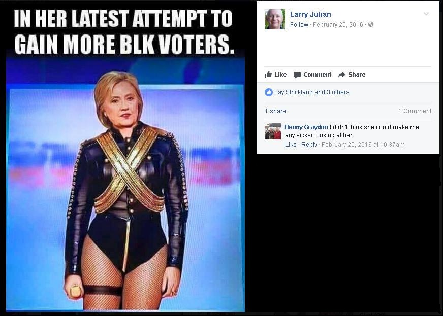 Larry Julian shares racist meme attacking Hillary Clinton