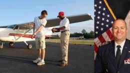 CAP Capt Bell with his first student to solo; CAP Col Greenwood